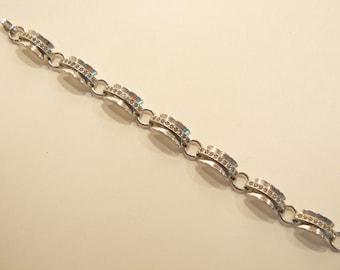 Beautiful Vintage Engel Brothers Sterling & Rhinestone Bracelet