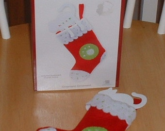 American Greetings Heirloom Collectible Cat Chat Christmas Ornament with Cat Bookmark in Felt Stocking