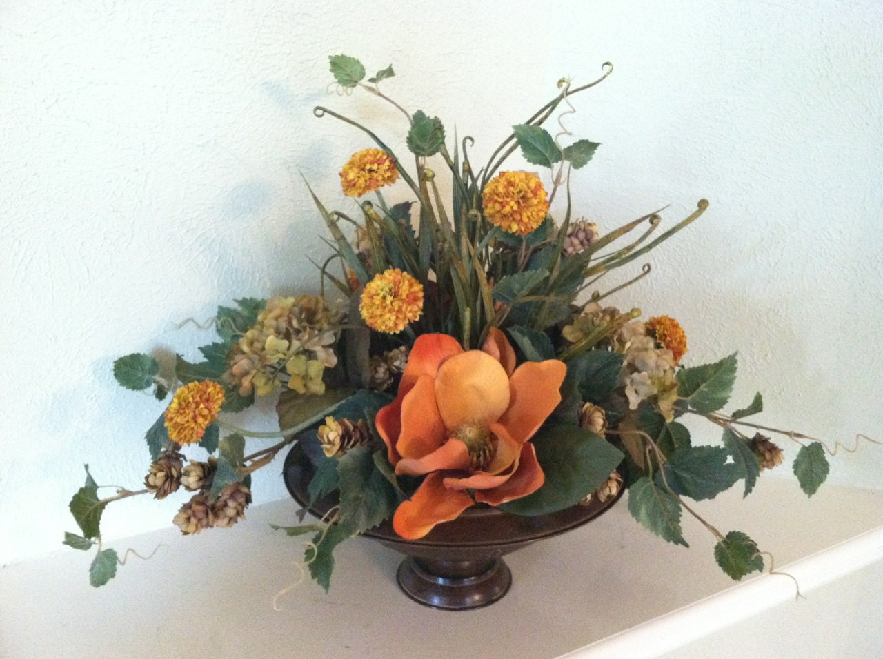 Rust Magnolia Silk Floral Centerpiece Faux by GreatwoodFlorals : ilfullxfull583342063aj6w from etsy.com size 1280 x 956 jpeg 230kB