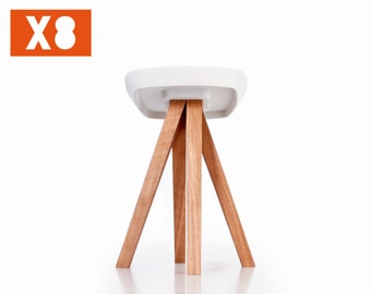 Stools bundle (quantity 8) - White concrete cast - Oiled solid wood - Interlocking assembly without tools