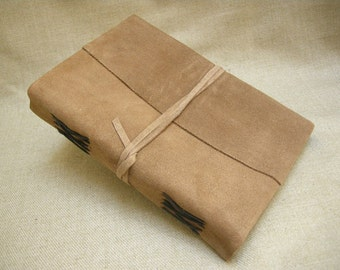 Hand-Sewn A5 Light Brown Suede 'RAGGED' Journal Diary Sketchbook - Pages of Cartridge Paper - Freepost UK