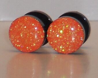 Neon Orange Glitter 9mm Fake Plugs