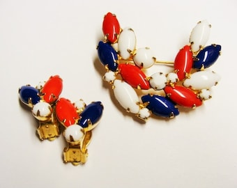 Red White and Blue Demi Parure Glass Stone Brooch Earrings Set
