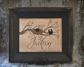 FAMILY NEST Personalized Burlap Family Name Birds on the Tree Wall Art