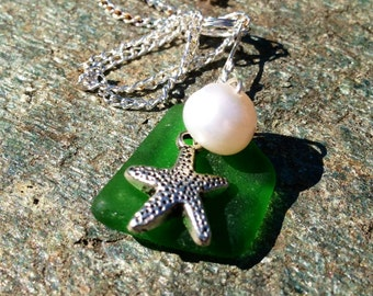 Authentic Surf Tumbled Emerald Green Beach Sea Glass with Tibetan Silver Starfish and Pearl Pendant
