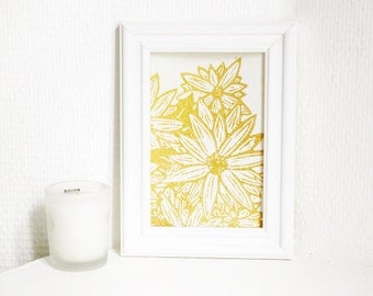 Golden flowers 3 - linocut print with gold ink