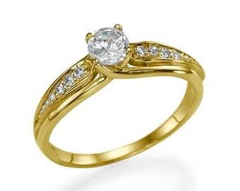 "GIA Vintage Diamond Engagement Ring 0.40 carat Diamond Ring E/VS2 ""Winter's Tulip"" White/Yellow/Rose gold 14k natural Diamond"