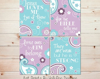 Baby girl nursery wall art Nursery art prints Purple aqua nursery Jesus loves me Baby wall art Toddler girl bedroom art Christian art #0759