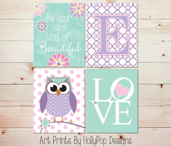 Owl Nursery Art Toddler Girls Room Wall Art Baby Girl Nursery