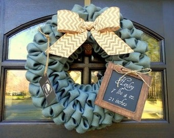 "Baby Shower Burlap Wreath with Chalkboard 19"" Gender Reveal Wreath"