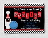 Boy Bowling Birthday Party Invitation - Bowling Themed Birthday - Digital Design or Printed Invitations - FREE SHIPPING