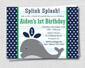 Whale Birthday Party Invitation - Navy Blue and Green - Under the Sea Birthday - Digital Design or Printed Invitations - FREE SHIPPING