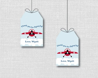 Vintage Airplane Favor Thank You Tags - Airplane Theme Birthday Party - Digital Design or Handcrafted Tags - FREE SHIPPING