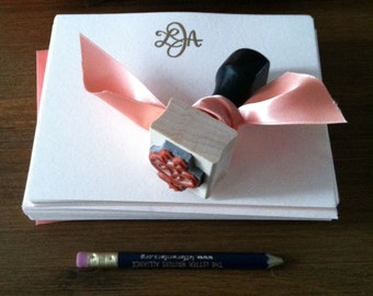 "1"" x 1"" Custom Monogram Rubber Stamp / Hand Drawn Monogram / Personalized Wedding or Engagement Gift"
