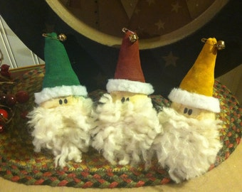 Set of Three Handmade Primitive Christmas Santa Head Ornaments, Tucks, Ornies