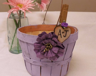Personalized Rustic Shabby Chic Wooden Flower Girl basket