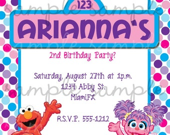 Abby Cadabby and Elmo Birthday Invitation