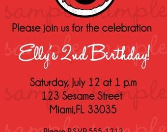 Elmo Birthday Invitation Damask