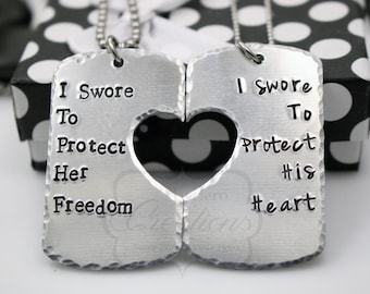 Hand-Stamped Military Support Necklace Set