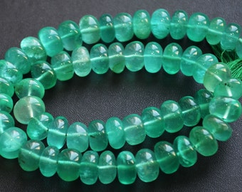 Emerald Quartz Smooth Roundel Beads, 8 inch Strand , 7-9 mm
