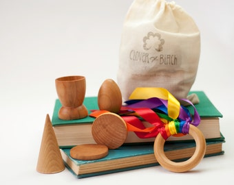 Wood Toy - Travel Busy Bag - Gift Set -Montessori Toys - Natural Toys - Montessori Busy Bag- Organic Toys - Airplane Toys - Travel Bag Set