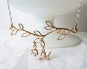 Personalized Twig Necklace. Dainty Matte Gold Twig with Cubic Zirconia and Initial Charm. Bridesmaid Gift. Simple Modern Jewelry by Pe