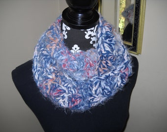 Wide, Warm Cowl / Infinity Scarf - Soft and Cuddly in Denim Blue / Navy / Ice Blue / Gold / White / Cranberry Red