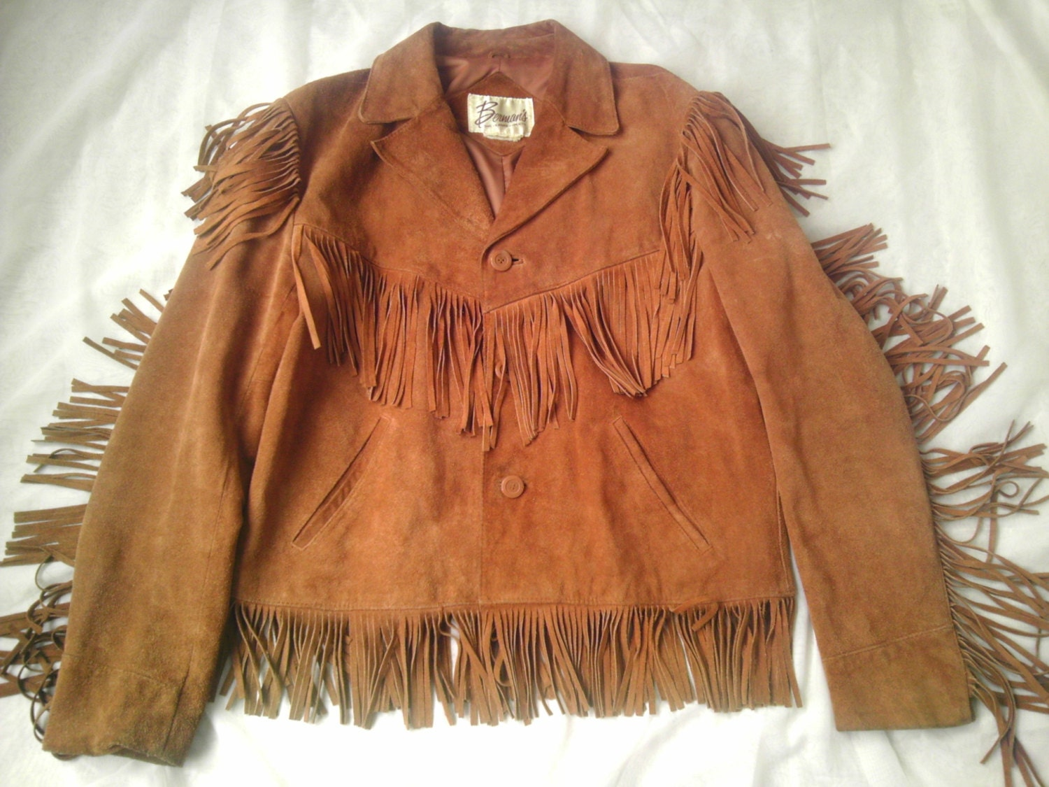 Vintage leather jacket suede fringe coat shirt western cowboy for Leather jacket and shirt