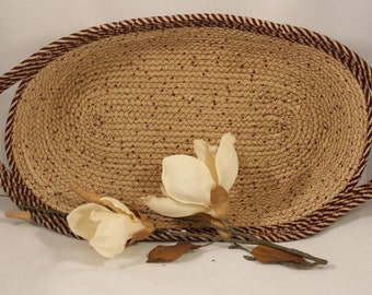 Large Oval Tan and Maroon Coiled Fabric Basket