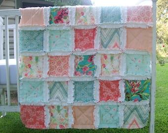 Baby Quilt, Girl, Coral Peach Aqua Chevron Crib Rag Quilt Teal Crib Bedding Baby Bedding Baby Blanket Shabby Chic, Minky, Brambleberry