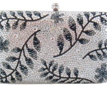 Swarovski ELEMENTS Minaudiere Hem Leave Leaf Pattern Crystal Metal case rectangle box Purse clutch bag