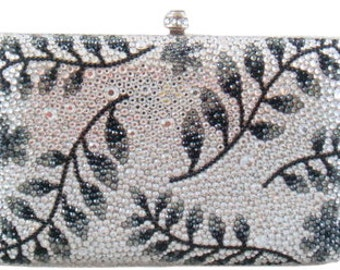 Swarovski ELEMENTS Minaudiere Hem Leave Leaf Pattern Crystal Metal case rectangle box Purse clutch bag