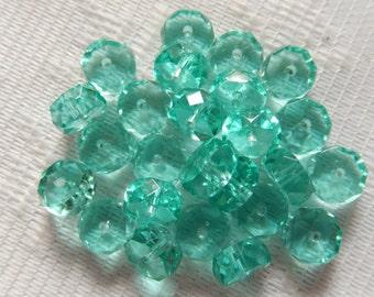 25  Aquamarine Green Transparent Faceted Disc Czech Glass Beads  8mm