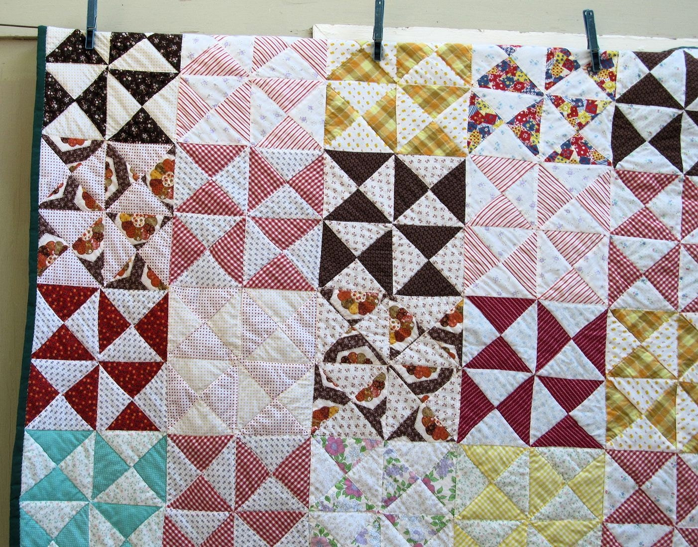 Vintage YANKEE PUZZLE Quilt Hand-Pieced Hand-Quilted Also