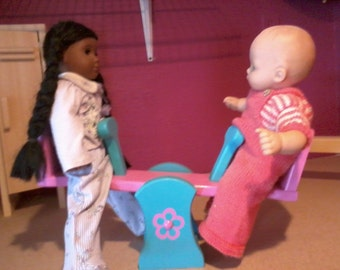 "doll see saw fits 15"" - 18"" dolls like bitty baby/twins and american girl"