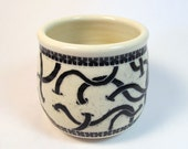 Stoneware Tumbler Spring Is Coming Worm Dance in Black and White