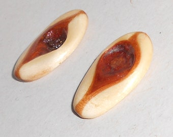 Vintage petrified wood knot earrings, pierced post Free USA Shipping