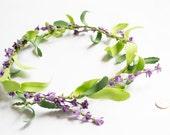 Dainty Purple Floral Crown, Flower Crown, Hair Wreath, Flower Tiara