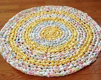 Rag Rug | Crocheted Rag Rug | Shabby Chic rug |  Nursery Rug  | Upcycled Rug