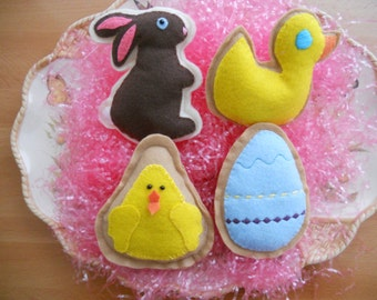 Easter Felt Cookies, Easter Decor, Felt Rabbit, Felt Egg, Felt Chick, Felt Duck