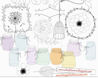 Romantic Wedding Jars and Doodles, Hand Drawn Mason Jars, Wedding Clip Art, Hand Drawn Flowers, for scrapbooking, wedding invitations