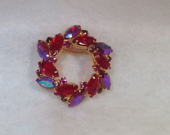 Red and Purple Ab Vintage Brooch