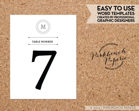 Table numbers classic monogram design diy by for Table number design template