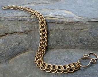 Brass Chain Bracelet ~ Half Persian Chain Maille Weave