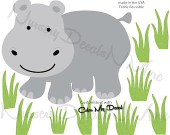 Jungle Safari Decals, Hippo Decal,  Hippo wall decal (Hippo Grass) AOC