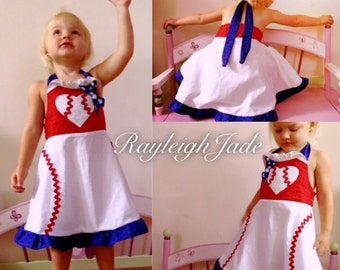 Baseball dress-Red,White, and Blue