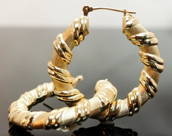 Thick Gold Hoop Earrings - 10k Yellow Gold