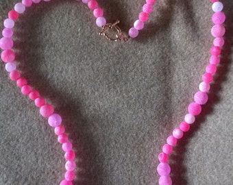Hand Made pink marble agate semi precious necklace