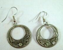 Vintage Sterling Silver Filigree Hoop Earrings