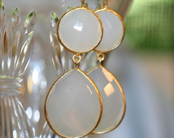 WHITE ONYX EARRINGS, new listing, gold bezel set, white agate earrings, dangle earrings, everyday earrings, statement earrings,